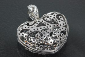 aLEm Pendant Heart of the deep blue Love Night with Zirconia 925/- Silver rhodium plated, polished,