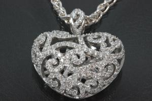 aLEm Pendant Heart of Brightness and Love with Zirconia 925/- Silver rhodium plated, polished,
