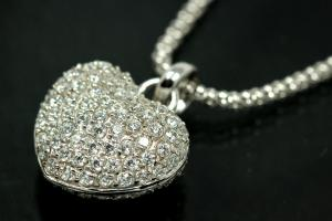 aLEm Pendant Glittering Heart and Love with Zirconia 925/- Silver rhodium plated, polished,