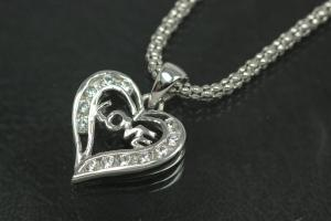 aLEm Pendant Sweet Heart with LOVE Schrift with Zirconia 925/- Silver rhodium plated, polished