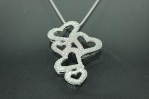 aLEm Pendant Loving Hearts with Zirconia 925/- Silver rhodium plated, polished,
