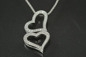 aLEm Pendant Dancing Heart with Zirconia 925/- Silver rhodium plated, polished,