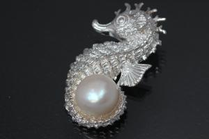 aLEm Pendant Seahorse with Pearl  925/- Silver