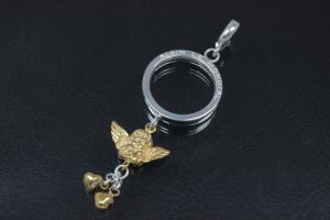 aLEm Pendant Angel with dangling hearts of Love 925/- Silver partially gold plated,