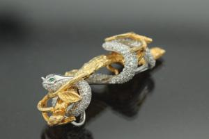 aLEm Earrings Snake on tree of the collection Wild Life by alain LE mondial, 925/- Silver partially gold plated, partially rhodium plated,