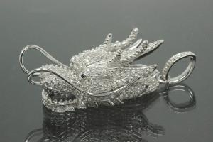 aLEm Pendant Dragon of Force 925/- Silver rhodium plated with Zirconia