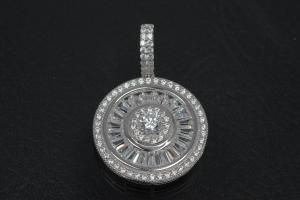 aLEm Pendant Global World Circle 925/- Silver rhodium plated with Zirconia,