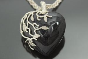 aLEm Pendant Blue Sandstone Heart of the Love Night, 925/- Silver