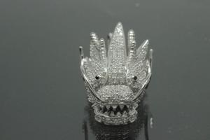 aLEm Pendant Dragon of Force 925/- Silver rhodium plated with Zirconia,