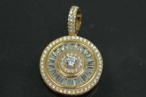 aLEm Pendant Global World Circle 925/- Silver gold plated with Zirconia,