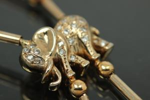aLEm Elephant necklace 750/-Gold / Whitegold with Diamonds totally 0,19ct w/si withbolt clasp and security eight,