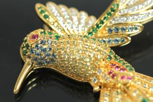 aLEm Pendant flying Humming-Bird 925/- Silver gold plated / partially rhodium plated, approx size high 35mm, wide 37,5mm, thickness 6,5mm, bail inside high 3,0mm, wide 3,0mm,