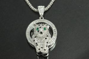 aLEm Pendant Cheetah in the Circle of Fire 925/- Silver rhodium plated, approx size high 35,3mm incl.bail,  wide 20,0mm, T9,0mm, bail outside h6,3mm,W4,3mm, bail inside H2,5mm, W3,6mm,