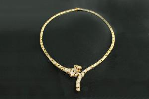 aLEm Necklace Tiger 925/- Silver partially gold plated, partially rhodium plated, approx size length 50mm, rigid necklace midsection high 49,0mm, wide 48,0mm, head thickness 12,5mm, body wide 7,0mm up to wide 5,0mm, thickness 3,3mm up to 2,3mm,
