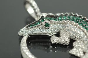 aLEm Pendant Crocodile 925/- Silver rhodium plated