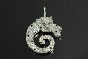 aLEm Pendant Gepard 925/- Silver rhodium plated,