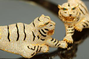 aLEm necklace Tiger 925/- Silver gold plated, approx.size single Tiger length 100mm, high 30mm, wide 40mm, inside neck approx. size 50cm length