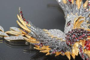 aLEm Necklace Flying Phoenix 925/- Silver partially gold plated / partially rhodium plated with white and red Zirconia and bolt clasp with security eight