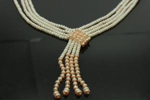 aLEm Freshwater Pearl Necklace Summer Dream 925/- Silver with four pearl strand infinitely an bail,