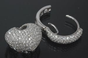 aLEm Earring Heart of Love 925/- Silver rhodium plated with Cubic Zirconia, approx size high 27,0mm, wide 16,9mm, thickness 10,0mm, Heart 14,0mm x 16,5mm