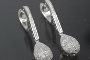 aLEm Earring Glittering World 925/- Silver rhodium plated with Cubic Zirconia, approx size high 40,0mm incl. leverback, wide 2,5mm, thickness 2,2mm, Teardrop 13,0 x 9,5mm, thickness 9,3mm
