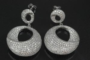 aLEm Ear post Glamour Halfmoon 925/- Silver rhodium plated with Cubic Zirconia,approx size high 42,0mm, wide 27mm, thickness 9,0mm,  length post 10,0mm, outside Ø0,8mm,