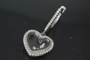 aLEm Earring with leverback 925/- silver, approx sizes H 31,0mm, B 15,5mm rhodium plated with Zirconia heart,  in the center moving Zirconia between two glasses and security leverback