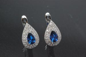 Earring Teardrop 925/- rhodium plated with Zirconia, center stone faceted sapphire colour teartrop zirconia with security leverback, approx sizes  high 13,5mm, wide 8,8mm