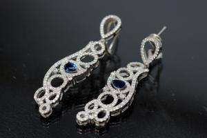 aLEm Earring with Teardrop 925/- rhodium plated with zirconia, center stone faceted safir colour teartrop zirconia with security leverback, approx sizes  high 55,0mm, wide 13,5mm