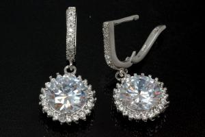 aLEm Earring with leverback and big Stone 925/- rhodium plated with zirconia, approx sizes  high 30,5mm incl. with security leverback, wide 14,0mm, thickness 6,0mm