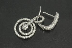 aLEm Earring Glittering Circles 925/- Silver rhodium plated with Cubic Zirconia, approx size high 38,5mm incl. leverback, wide 16,0mm, thickness 2,3mm,