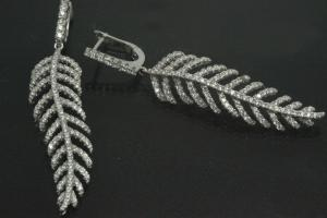 aLEm Earring Lovley Feather 925/- Silver rhodium plated with Cubic Zirconia, approx size high 53,0mm incl. leverback, wide 11,5mm, thickness 4,0mm,