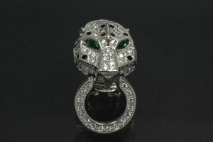 aLEm Ear post with security omega clip Tiger Head 925/- Silver rhodium plated with Cubic Zirconia,approx size high 32,5mm, wide15,0mm, thickness 8,5mm,  length post 10,0mm, outside Ø0,8mm,