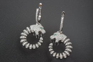aLEm earring with leverback and stone Tiger 925/- Silber rhodium plated, approx.size high 39,0mm incl.leverback with Cubic Cirkonia, wide 19,5mm, thickness 5,0mm