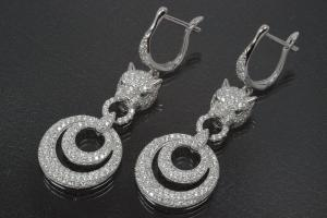aLEm earring Tiger head with Double Ring 925/- Silber rhodium plated, approx.size high 48,0mm incl.leverback and Cubic Cirkonia, wide 18,0mm, thickness 5,0mm