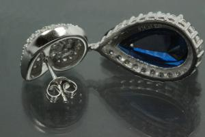 aLEm Earring Teardrop and Top as a Ammonite 925/- Silver rhodium plated with sapphire colour and white Cubic Zirconia, approx size.high 37,5mm, wide 13,5mm, thickness 5,5mm, with ear post.