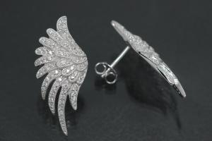 aLEm Earring Angel Wing 925/- Silver rhodium plated with Zirconia, approx size. length 27,5mm incl. leverback, wide 12,4mm, thickness 3,00mm,