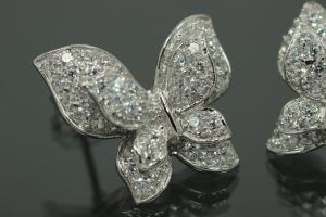 aLEm Earring Butterfly 925/- Silver rhodium plated with Zirconia, approx size.high 19,0mm, wide20,0mm, thickness 7,00mm, with ear post.