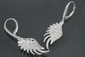 aLEm Earring Angel Wing 925/- Silver rhodium plated with Zirconia, approx size. length 42,0mm incl. leverback, wide 11,5mm, thickness 3,00mm,