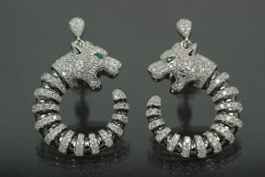 aLEm earring with post Tiger 925/- Silber rhodium plated, approx.size H31,8mm incl.post plate, B19,5mm, MS5,0mm, post 10mm long, AØ0,8mm