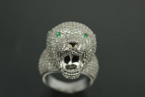 aLEm Ring Wild Roaring Cougar 925/- Silver rhodium plated with white Cubic Zirconia