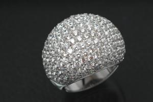 aLEm Ring Lighting Dome 925/- Silver rhodium plated, with white Cubic Zirconia and undergallery