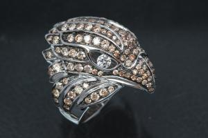 aLEm Ring Proud Falcon 925/- Silver rhodium plated, with white/champagne Cubic Zirconia