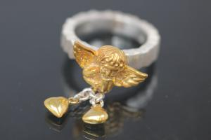 aLEm Ring Golden Angel of Lovers with hearts by alain LE mondial, 925/- Silver partially gold plated and partially polished,