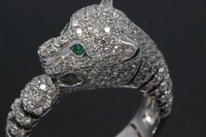 aLEm Ring Chasing Tiger 925/- Silver rhodium plated with Zirconia white and green