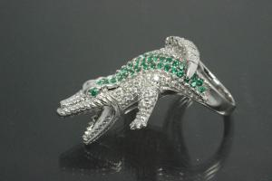 aLEm Ring Attacking Crocodile 925/- Silver rhodium plated with white and emerald green Cubic Zirconia