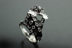 aLEm Ring Black Cougar 925/- Silver rhodium plated / partially artificial enamel