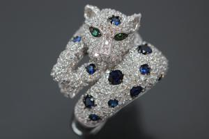 aLEm Ring Hunting Cheetah 925/- Silver rhodium plated, with white/blue/green Cubic Zirconia