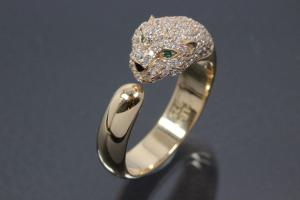 aLEm Ring Black Cougar 925/- Silver gold plated, with white/green Cubic Zirconia