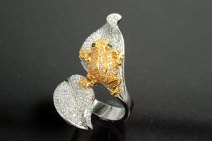 aLEm Ring Golden Poison Frog 925/- Silver rhodium plated / partially gold plated, with white/green Cubic Zirconia